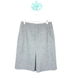 LOFT Grey Wool Pleated Front Pencil Boot Skirt
